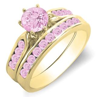 10k Yellow Gold 1ct Pink Sapphire Bridal Ring Set