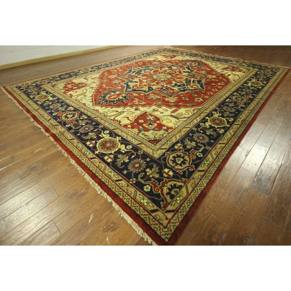 Palace Size Red and Navy Blue Heriz Serapi Hand-knotted Wool Area Rug (12' x 18', 12' x 12')