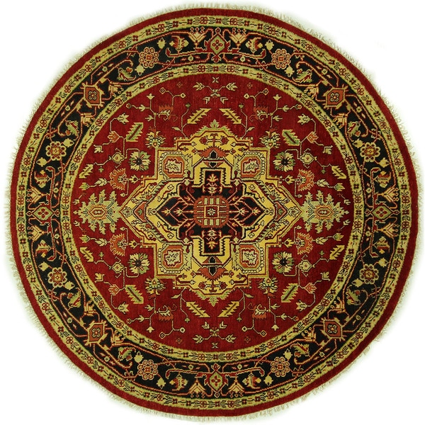 Medallion Vibrant Red Round Heriz Serapi Hand-knotted Wool Area Rug (8' x 8', 8') 16162388