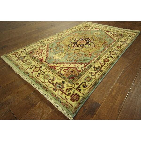 Oriental Sky Blue/Ivory Heriz Serapi Hand-knotted Wool Area Rug (4' x 6') 16162389