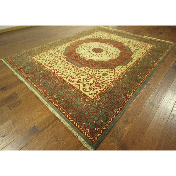 Ivory/Viridian Blue Border Oriental Mamluk Hand-knotted Wool Area Rug (8' x 10')