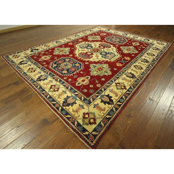 Unique Geo-floral Vibrant Red Hand-knotted Super Kazak Wool Area Rug (8' x 11') 16162529
