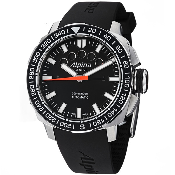 Alpina Men's 'Adventure' Black Dial Black Rubber Strap Automatic Watch (As Is Item)