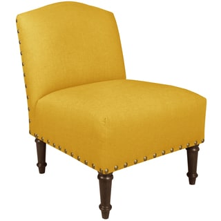 Skyline Furniture Big Nail Camel Back Chair in Linen French Yellow
