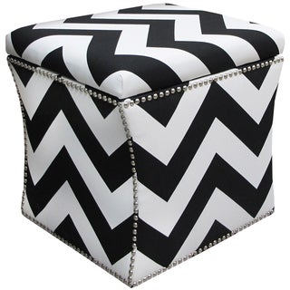 Skyline Furniture Nail Button Storage Ottoman in Zippy Black-White
