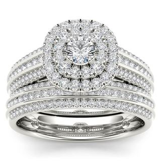 De Couer 10k White Gold 1ct TDW Diamond Double Engagement Ring with One Band (H-I, i2)