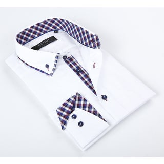 Coogi Luxe Men's White Solid Button-up Dress Shirt