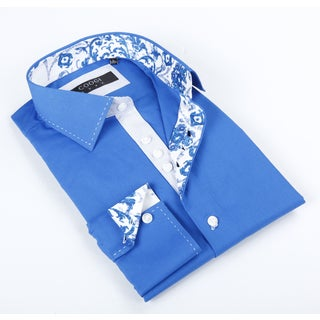 Coogi Luxe Men's Blue Solid Button-up Dress Shirt