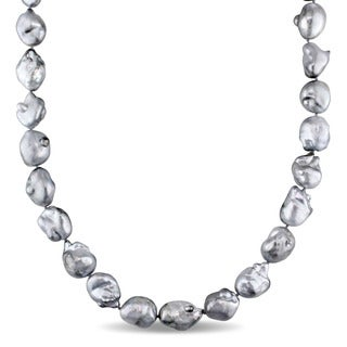 Miadora Signature Collection 14k White Gold Tahitian Platinum Pearl Necklace (11-14 mm)