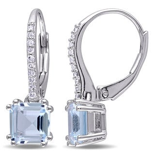 Miadora Sterling Silver Blue Topaz and 1/10ct TDW Diamond Dangle Earrings (G-H, I2-I3)