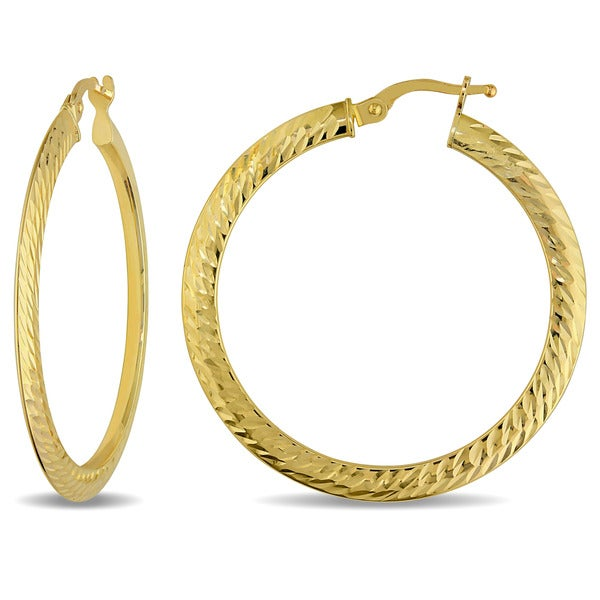 Miadora 10k Yellow Gold Italian Hoop Earrings 16163784