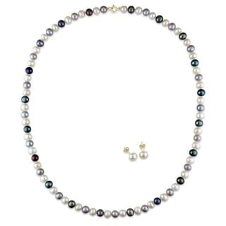 Miadora 10k Yellow Gold Cultured Freshwater Black, White and Grey Pearl Earrings and Necklace Set (5-6 mm)