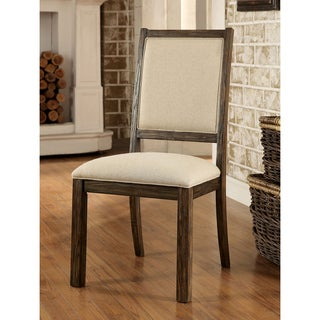 Furniture of America Bailey Rustic Weathered Elm Side Chair (Set of 2)