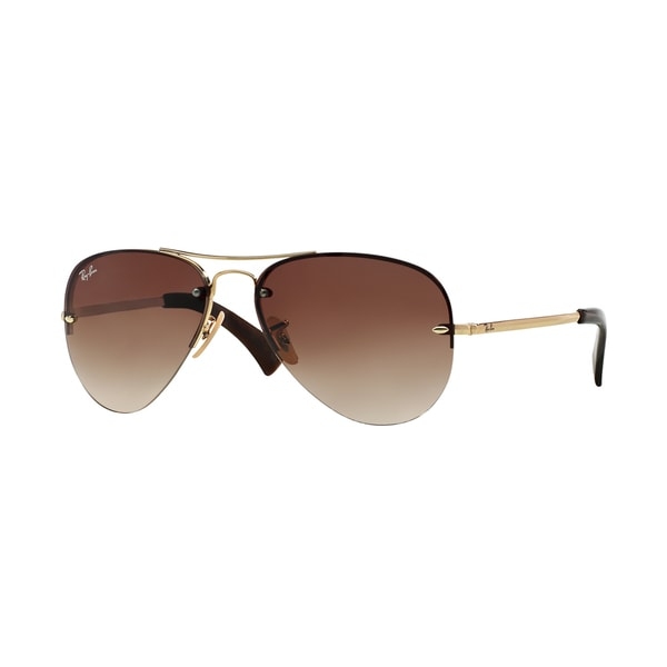 Ray-Ban RB3449 59mm Brown Gradient Lenses Gold Frame Sunglasses