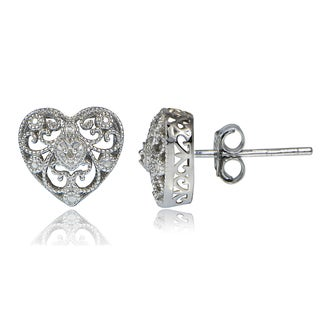 DB Designs Sterling Silver Diamond Accent Filigree Heart Stud Earrings
