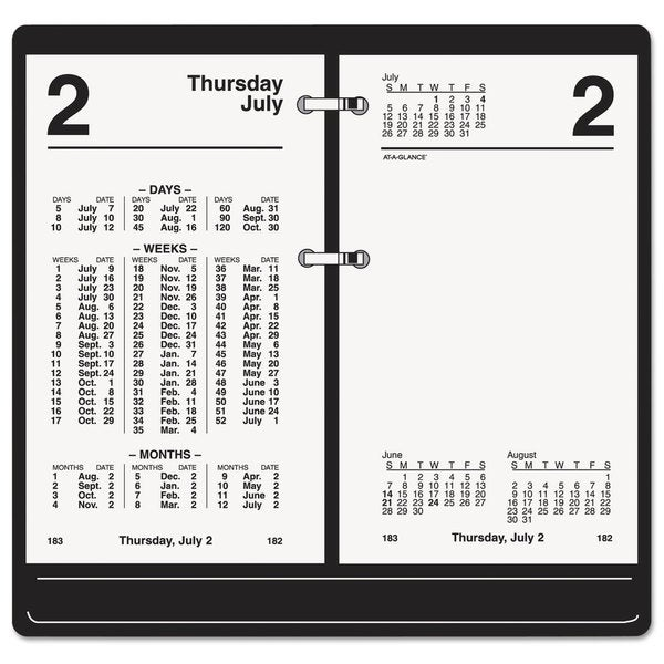 AT-A-GLANCE 2016 White Financial Desk Calendar Refill