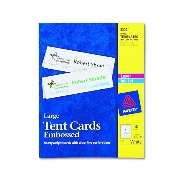 Avery Large Embossed White Tent Card (Box of 50)