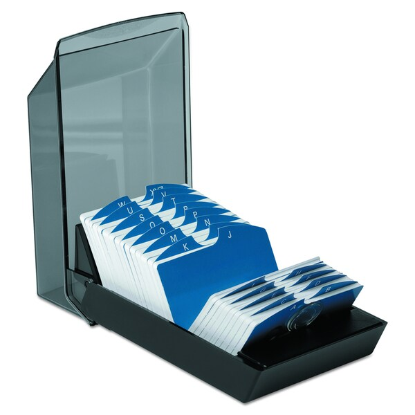 Rolodex Black Covered Tray Card File w/ 24 A-Z Guides Holds 500 Cards