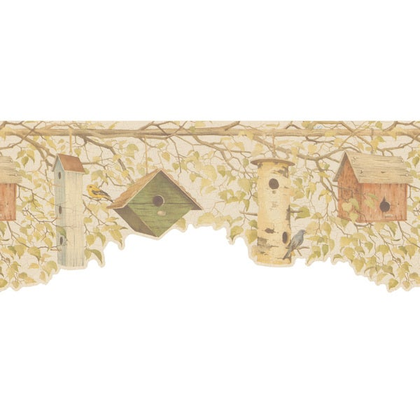 Light Green Bird House Wallpaper Border
