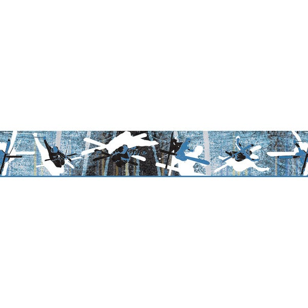 Blue Skiing Wallpaper Border