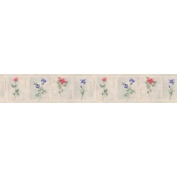 Rose Cameo Flowers Wallpaper Border