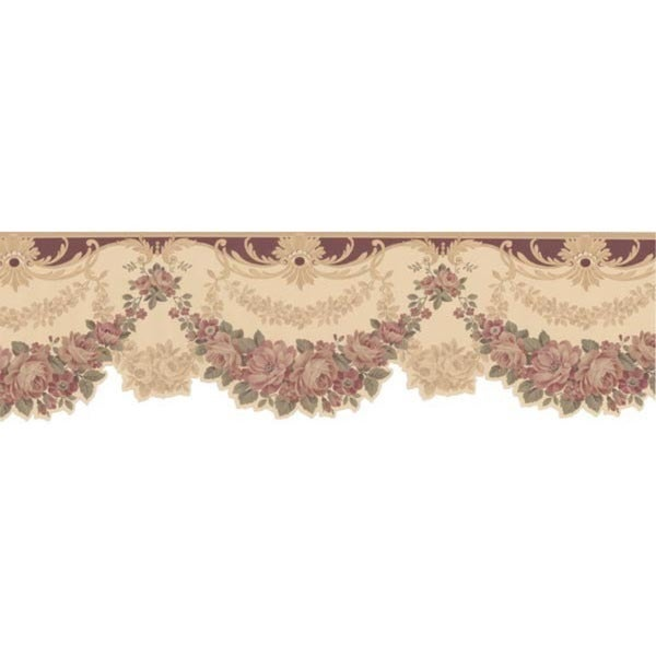 Maroon Floral Valance Wallpaper Border