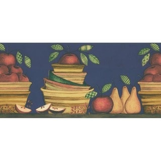 Blue Apple and Pear Wallpaper Border