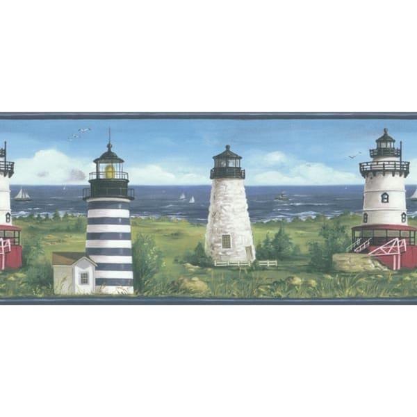 Blue Lighthouse Wallpaper Border