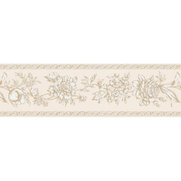 Pale Yellow Floral Trail Wallpaper Border