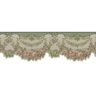 Sage Floral Valance Wallpaper Border