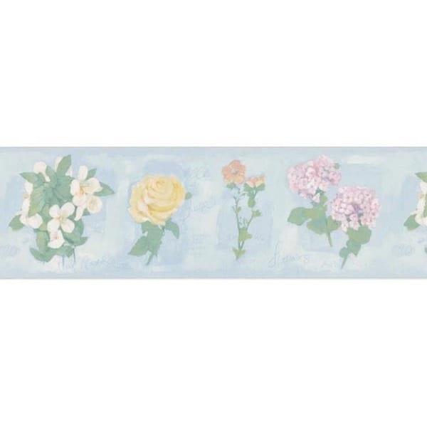 Blue Floral Script Wallpaper Border