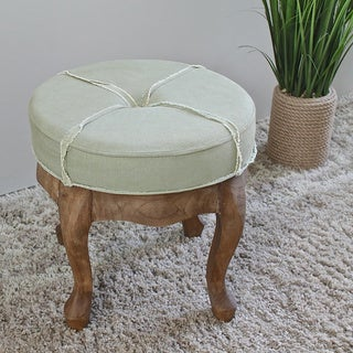International Caravan Rustic Elegance 16.5-inch Sage Round Tufted Stool