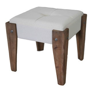 International Caravan Rustic Elegance 17.5-inch Natural Square Tufted Stool