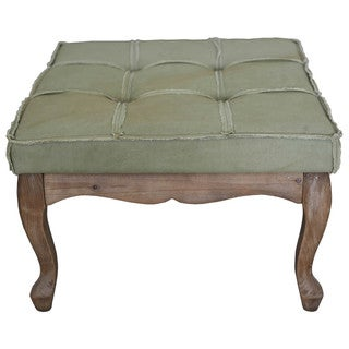 International Caravan Rustic Elegance 24-inch Sage Square Tufted Ottoman