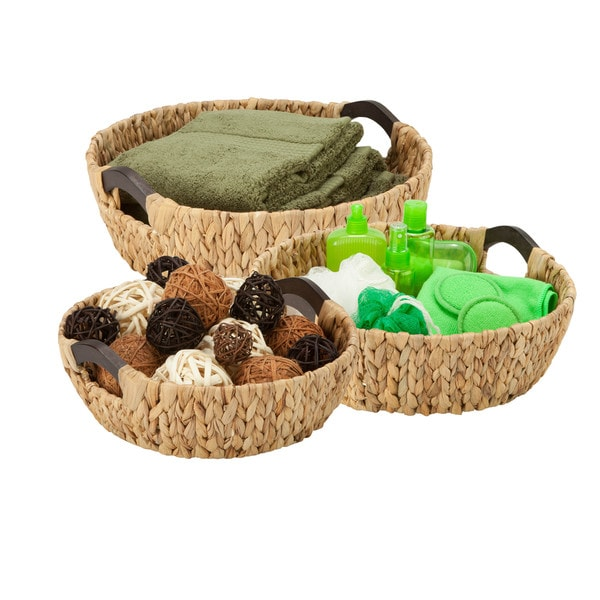 3pc round natural baskets,wood