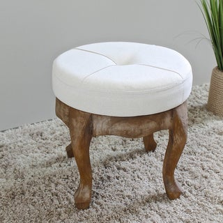 International Caravan Rustic Elegance 16.5-inch Natural Round Tufted Stool