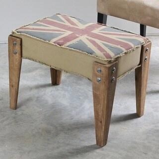 International Caravan Vintage Antique Union Jack Upholstered Bench