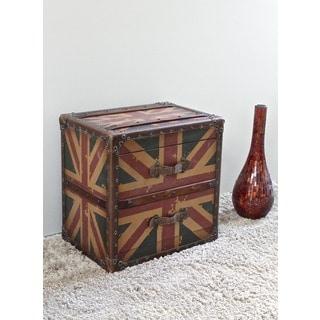 International Caravan Vintage Antique Union Jack Two-Drawer End Table