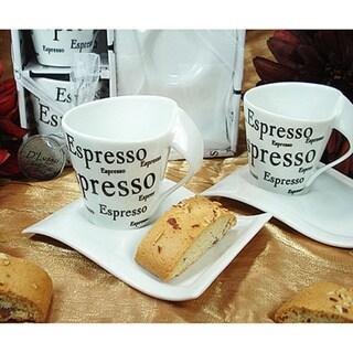D'Lusso Designs Four Piece Espresso Design Biscotti Saucer Espresso Set 16164523