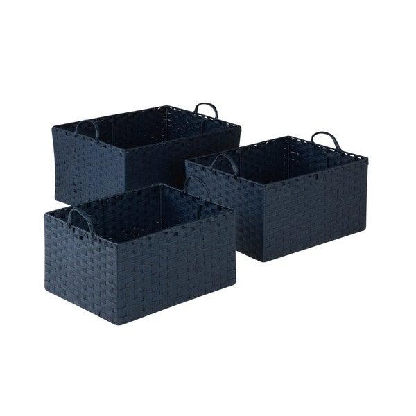 3pc Set Paper Rope Basket, Blu