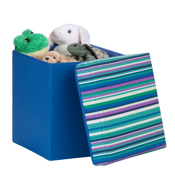 padded storage cube, blue