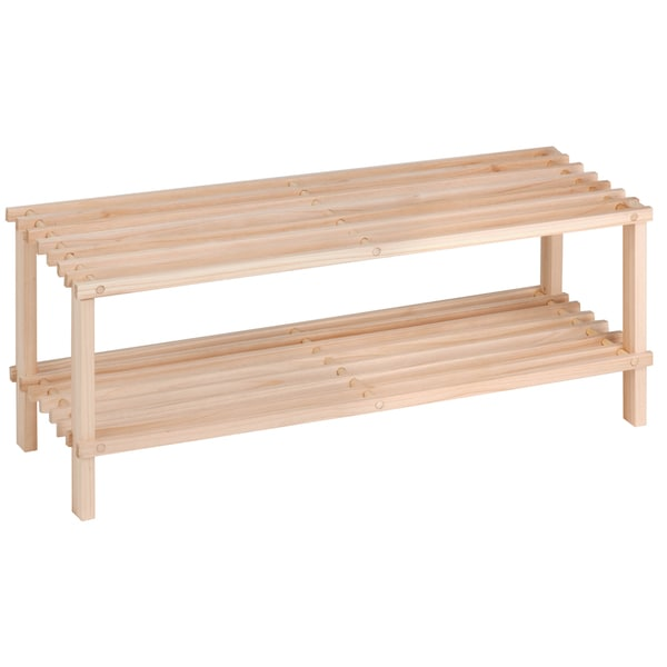 2-Tier Natural Wood Shoe Rack