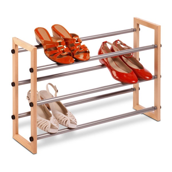 3-Tier Wood & Metal Shoe Rack