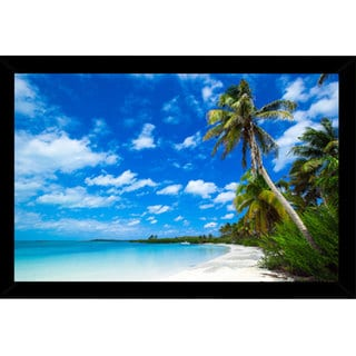 Beach with Palm Trees Poster (36-inch x 24-inch) with Contemporary Poster Frame
