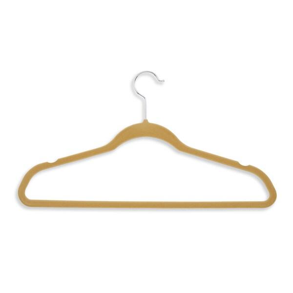 Flocked Suit Hanger- 20pk tan