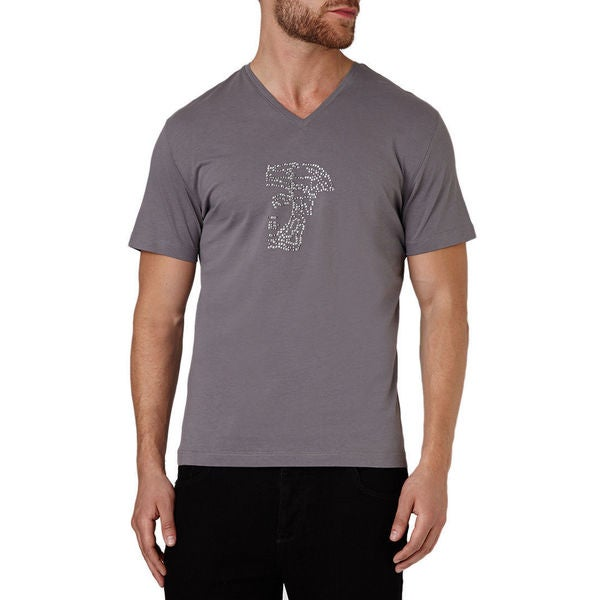 Versace Men's Grey Cotton Studded Medusa Short Sleeve T-shirt