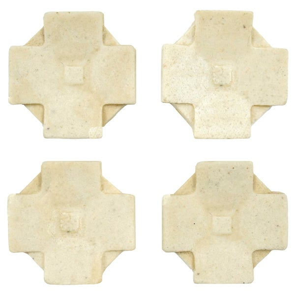 SomerTile 1.2x1.2-inch Courant Clove Light Travertine Mosaic Medallion Pin Insert Wall Tile (Pack of 4)