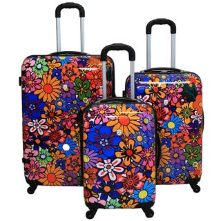 Astibe Flower 3-piece Hardside Lightweight Expandable Upright Spinner Luggage Set