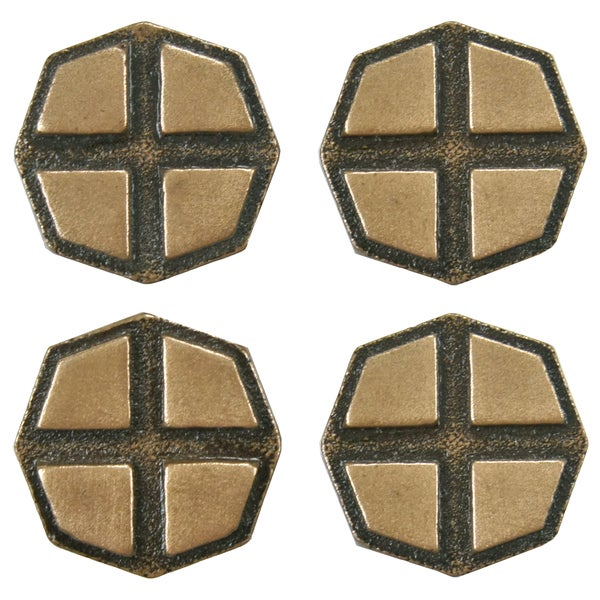 SomerTile 1.2x1.2-inch Courant Cross Bronze Mosaic Medallion Pin Insert Wall Tile (Pack of 4)