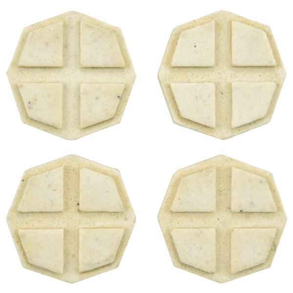 SomerTile 1.2x1.2-inch Courant Cross Light Travertine Mosaic Medallion Pin Insert Wall Tile (Pack of 4)